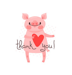 with joyful piggy who says - thank vector image