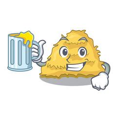 With juice hay bale mascot cartoon vector