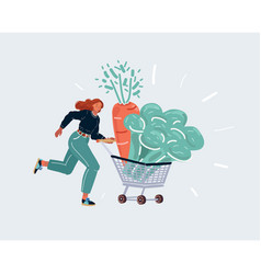 woman run wig trooley shopping cart with giatn vector image