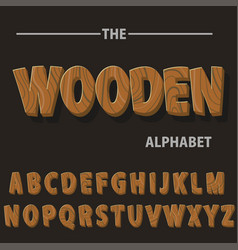 wooden alphabet wood retro font letters for text vector image