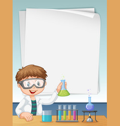 young science boy with paper copyspace vector image