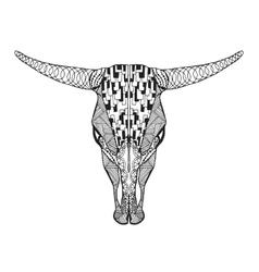 Zentangle stylized bull skull Sketch for tattoo vector