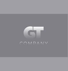 gt g t pastel blue letter combination logo icon vector image