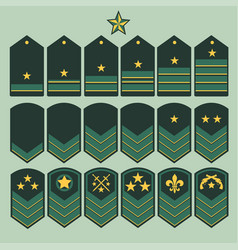 Military ranks set army patches vector