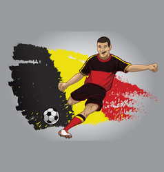 belgium soccer player with flag as a background vector image vector image