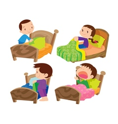 children and bed vector image