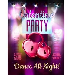 Disco Valentine background Disco poster vector image