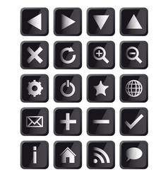 Glossy Black Square Navigation Web Icons vector image vector image