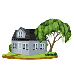 gray house with big tree in lawn vector image vector image
