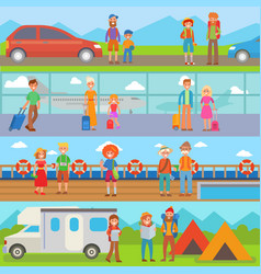 happy family people with suitcases vacation summer vector image vector image