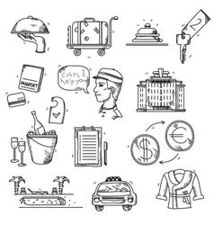Hotel Services icons doodle hand drawn style vector image
