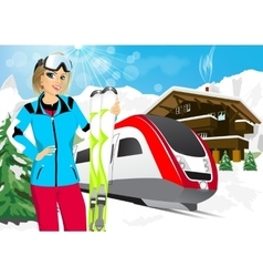 pretty woman skier in mountain resort vector image