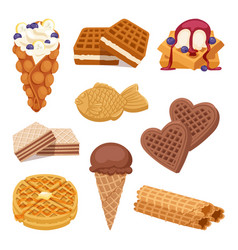 different wafer cookies on white background waffle vector image vector image