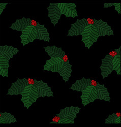 embroidered mistletoe seamless pattern vector image vector image