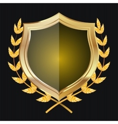 Golden Shield With Laurel Wreath vector image