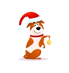 Happy cartoon dog with christmas decoration vector