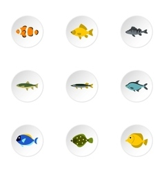 River fish icons set flat style vector image vector image