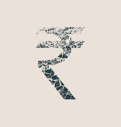 rupee symbol grunge style icon vector image vector image