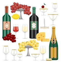 set of wine and food vector image vector image