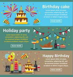 Birthday party banner horizontal set flat style vector