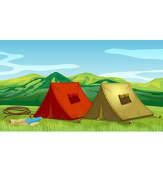 Camping tents near the mountain vector image vector image