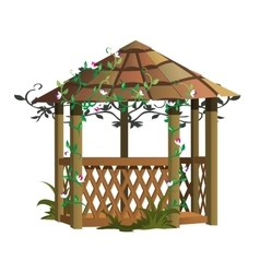 Cozy wooden gazebo with flowers landscape decor vector image vector image