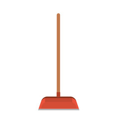 dustpan with wooden stick in colorful silhouette vector image