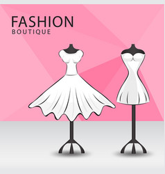Fashion boutique facade clothes shop women vector