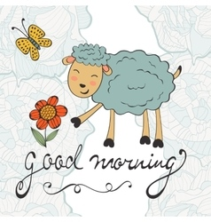 Good morning cute card with smiling sheep vector