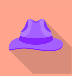 Vintage fedora hat icon flat style vector