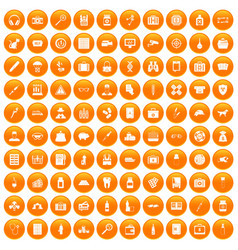 100 case icons set orange vector