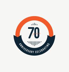 70 th anniversary celebrations retro orange vector