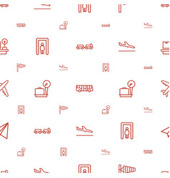 airport icons pattern seamless white background vector image