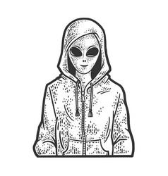 alien in hoodie line art sketch vector image