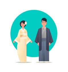 asian couple wearing traditional clothes smiling vector image