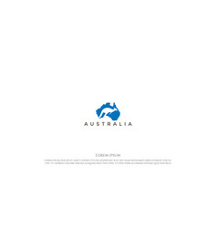 australia continent map with kangaroo for travel vector image