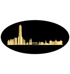 bangkok gold skyline vector image