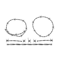 Barbed wire separate elements and parts vector