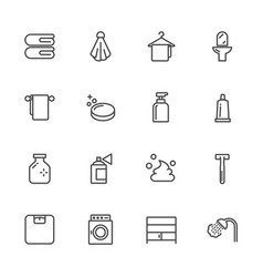 bathroom lines icons outline icon vector image