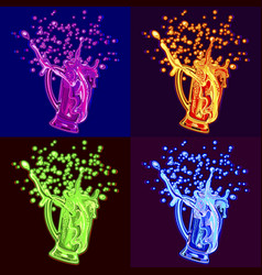 beer in style pop art four neon colors vector image
