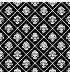 Black diagonal floral pattern vector