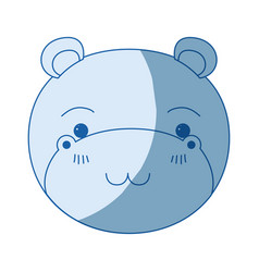 Blue color shading silhouette cute face of hippo vector