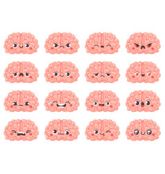 brain emoticons cute brains characters with vector image