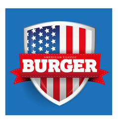 Burger vintage shield with USA flag vector
