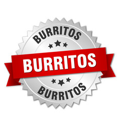 Burritos 3d silver badge with red ribbon vector