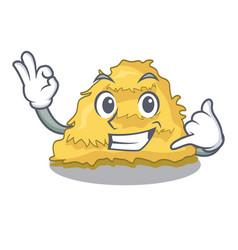 Call me hay bale mascot cartoon vector