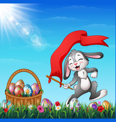 Cartoon easter bunny holding red flag with a baske vector