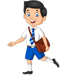 cartoon happy school boy in uniform vector image