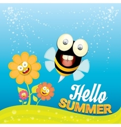 cartoon summer landscape with Honey bees vector image