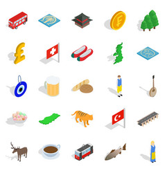 Central europe icons set isometric style vector